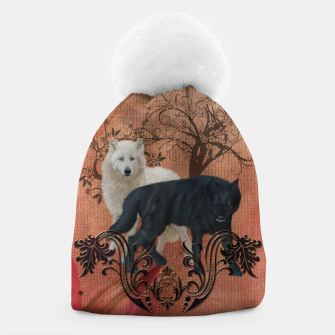 Thumbnail image of Awesome black and white wolf Beanie, Live Heroes