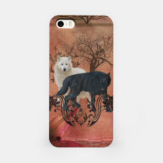 Thumbnail image of Awesome black and white wolf iPhone Case, Live Heroes