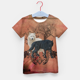 Thumbnail image of Awesome black and white wolf Kid's t-shirt, Live Heroes