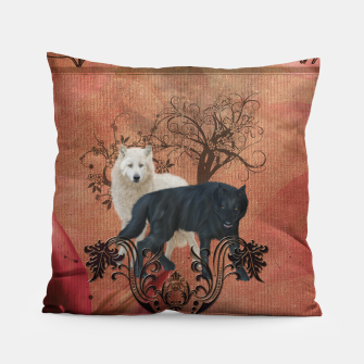 Thumbnail image of Awesome black and white wolf Pillow, Live Heroes