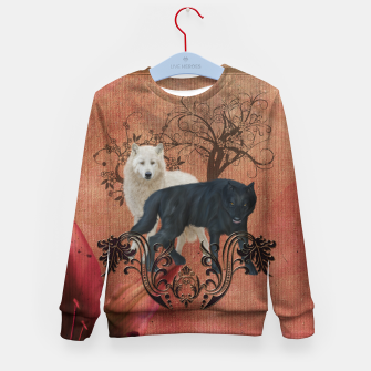 Thumbnail image of Awesome black and white wolf Kid's sweater, Live Heroes