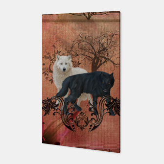Thumbnail image of Awesome black and white wolf Canvas, Live Heroes