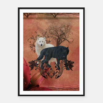 Thumbnail image of Awesome black and white wolf Framed poster, Live Heroes
