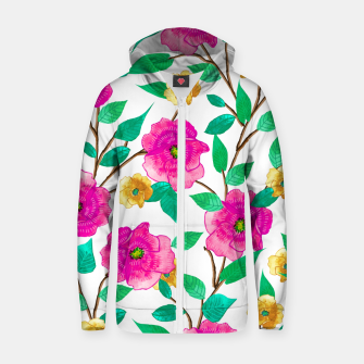 Thumbnail image of Floral Forever Cotton zip up hoodie, Live Heroes