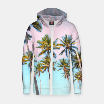 Thumbnail image of Coconut Palms Cotton zip up hoodie, Live Heroes