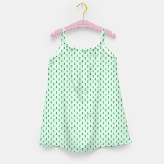 Miniatur Badger Forest Friends All Over Repeat Pattern on Mint Green Girl's dress, Live Heroes