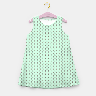 Miniatur Badger Forest Friends All Over Repeat Pattern on Mint Green Girl's summer dress, Live Heroes