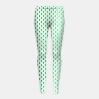 Miniatur Badger Forest Friends All Over Repeat Pattern on Mint Green Girl's leggings, Live Heroes