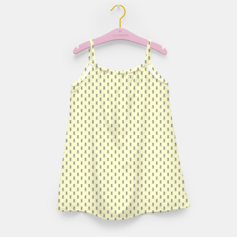 Miniatur Badger Forest Friends All Over Repeat Pattern on Lemon Yellow Girl's dress, Live Heroes