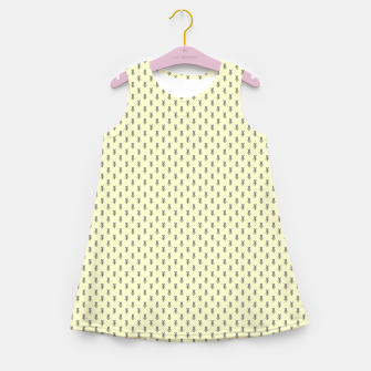 Miniatur Badger Forest Friends All Over Repeat Pattern on Lemon Yellow Girl's summer dress, Live Heroes