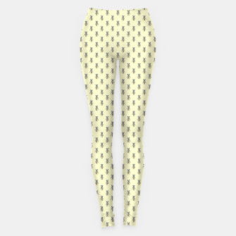 Miniatur Badger Forest Friends All Over Repeat Pattern on Lemon Yellow Leggings, Live Heroes