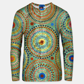 Ethnic geometric circles pattern with golden accents Cotton sweater obraz miniatury