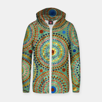 Ethnic geometric circles pattern with golden accents Cotton zip up hoodie obraz miniatury