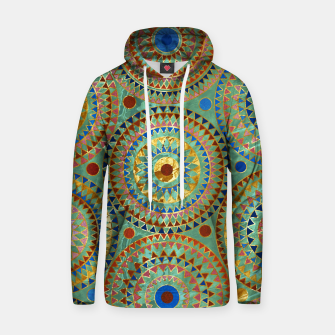 Ethnic geometric circles pattern with golden accents Cotton hoodie obraz miniatury