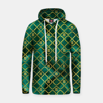 Thumbnail image of Gold Chinese Double Happiness Symbol pattern on malachite Cotton hoodie, Live Heroes