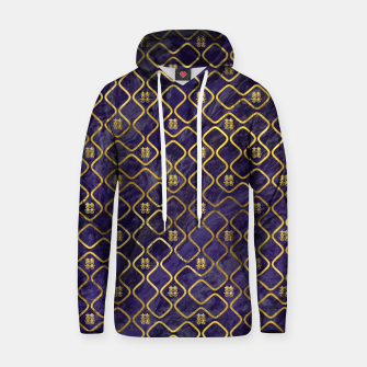 Thumbnail image of Gold Chinese Double Happiness Symbol pattern on amethyst Cotton hoodie, Live Heroes