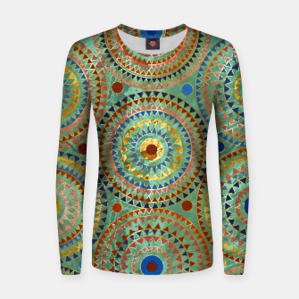 Ethnic geometric circles pattern with golden accents Woman cotton sweater obraz miniatury