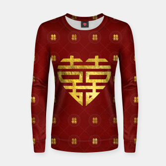 Thumbnail image of Gold Double Happiness Symbol in heart shape Woman cotton sweater, Live Heroes