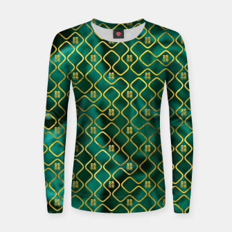 Thumbnail image of Gold Chinese Double Happiness Symbol pattern on malachite Woman cotton sweater, Live Heroes