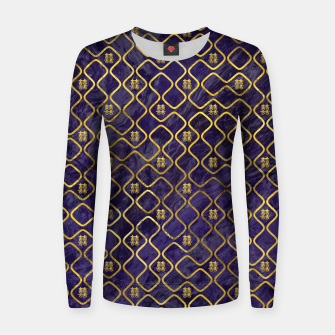 Thumbnail image of Gold Chinese Double Happiness Symbol pattern on amethyst Woman cotton sweater, Live Heroes