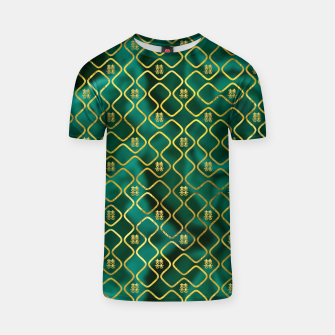 Thumbnail image of Gold Chinese Double Happiness Symbol pattern on malachite T-shirt, Live Heroes