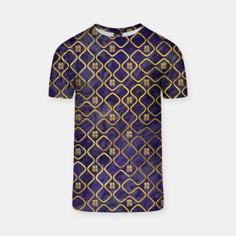 Thumbnail image of Gold Chinese Double Happiness Symbol pattern on amethyst T-shirt, Live Heroes