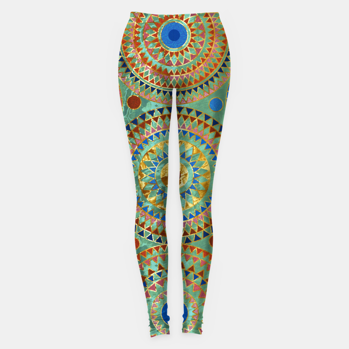 Zdjęcie Ethnic geometric circles pattern with golden accents Leggings - Live Heroes