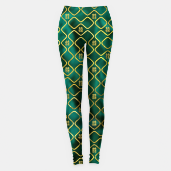 Thumbnail image of Gold Chinese Double Happiness Symbol pattern on malachite Leggings, Live Heroes
