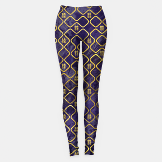 Thumbnail image of Gold Chinese Double Happiness Symbol pattern on amethyst Leggings, Live Heroes