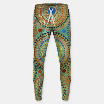 Ethnic geometric circles pattern with golden accents Cotton sweatpants obraz miniatury