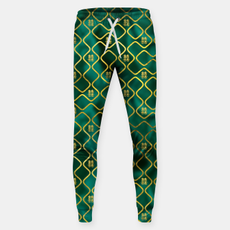 Thumbnail image of Gold Chinese Double Happiness Symbol pattern on malachite Cotton sweatpants, Live Heroes