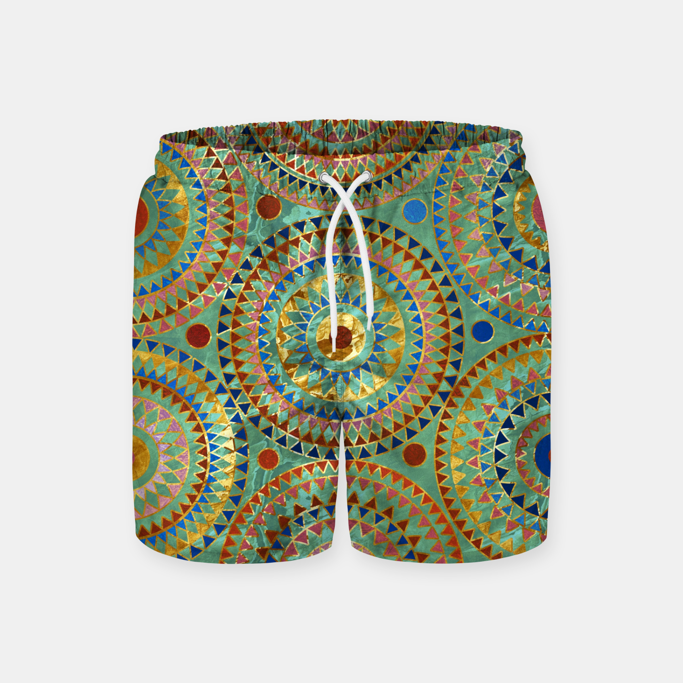 Zdjęcie Ethnic geometric circles pattern with golden accents Swim Shorts - Live Heroes