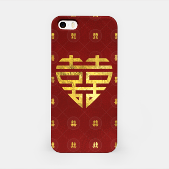 Thumbnail image of Gold Double Happiness Symbol in heart shape iPhone Case, Live Heroes