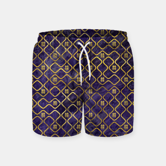 Thumbnail image of Gold Chinese Double Happiness Symbol pattern on amethyst Swim Shorts, Live Heroes