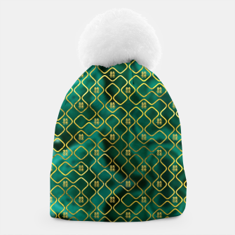 Thumbnail image of Gold Chinese Double Happiness Symbol pattern on malachite Beanie, Live Heroes