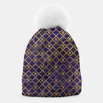 Thumbnail image of Gold Chinese Double Happiness Symbol pattern on amethyst Beanie, Live Heroes