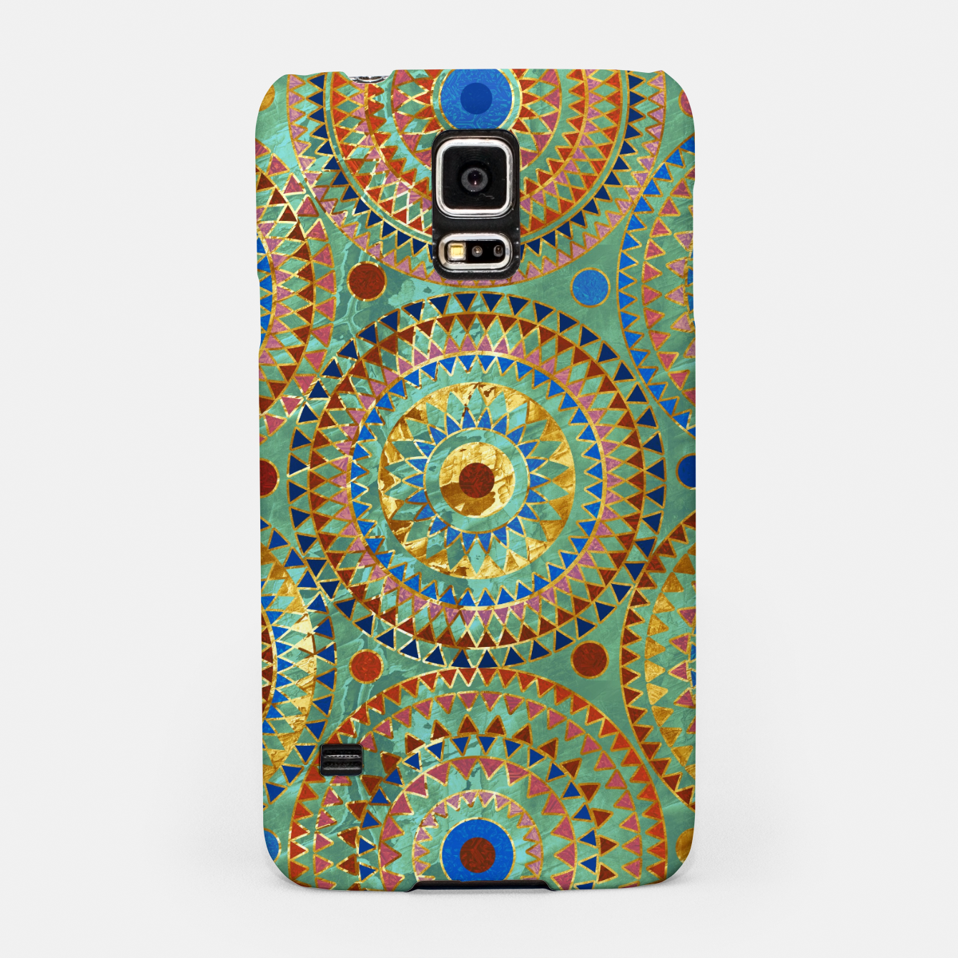 Zdjęcie Ethnic geometric circles pattern with golden accents Samsung Case - Live Heroes