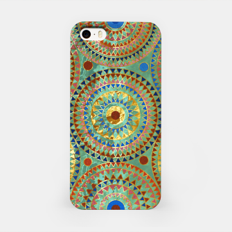Ethnic geometric circles pattern with golden accents iPhone Case obraz miniatury
