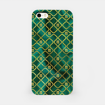 Thumbnail image of Gold Chinese Double Happiness Symbol pattern on malachite iPhone Case, Live Heroes