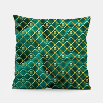 Thumbnail image of Gold Chinese Double Happiness Symbol pattern on malachite Pillow, Live Heroes