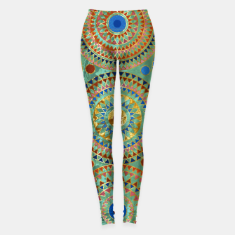 Ethnic geometric circles pattern with golden accents Leggings obraz miniatury