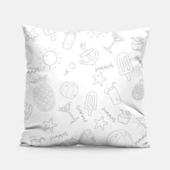 Miniatur Summer icons Pattern Pillow, Live Heroes