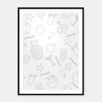 Miniatur Summer icons Pattern Framed poster, Live Heroes