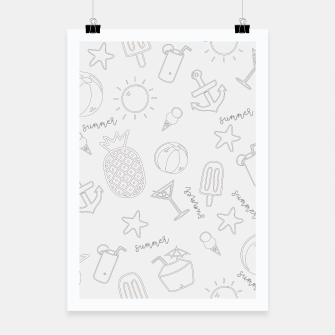 Miniatur Summer icons Pattern Poster, Live Heroes