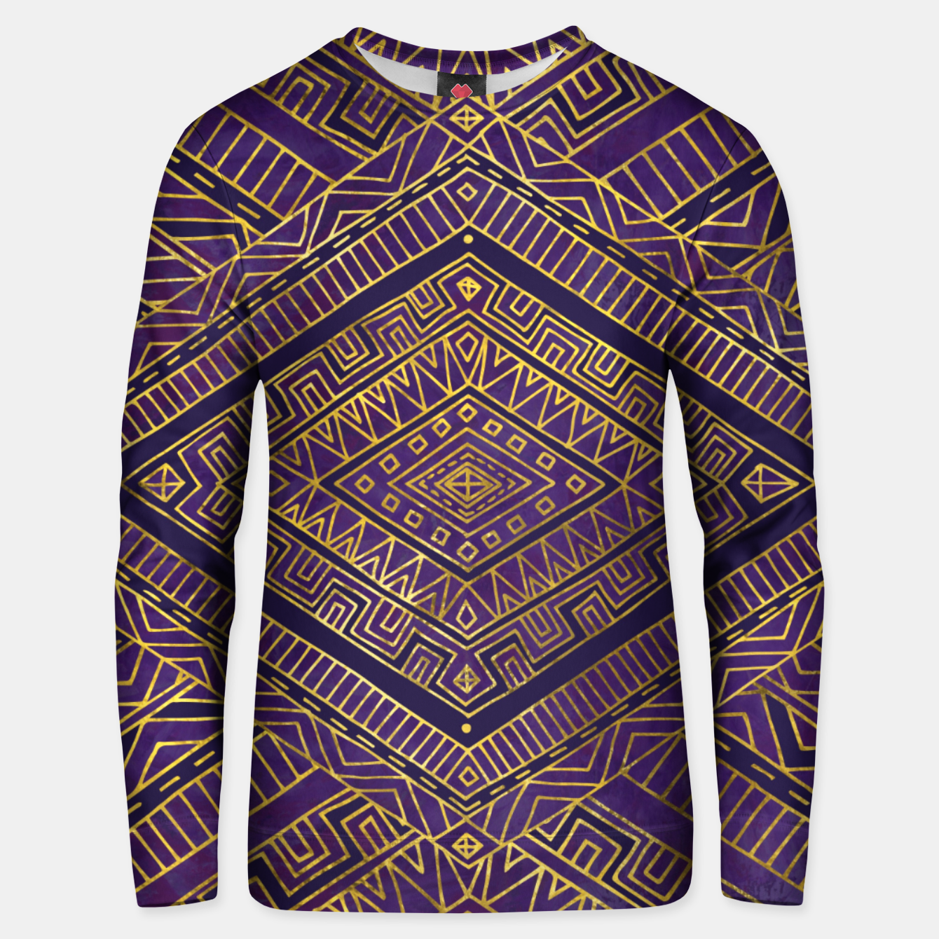 b34489b61428bf Tribal Ethnic Boho Pattern gold and purples Cotton sweater