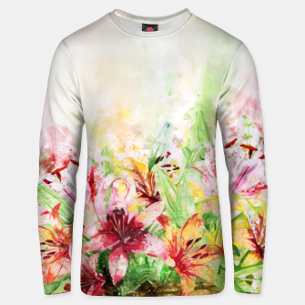 Thumbnail image of Watercolor Basket Lilies Cotton sweater, Live Heroes