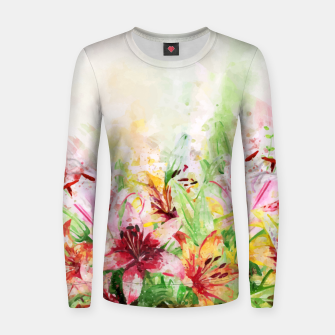 Thumbnail image of Watercolor Basket Lilies Woman cotton sweater, Live Heroes