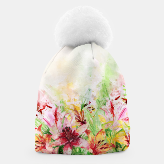Thumbnail image of Watercolor Basket Lilies Beanie, Live Heroes