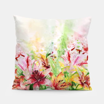 Thumbnail image of Watercolor Basket Lilies Pillow, Live Heroes