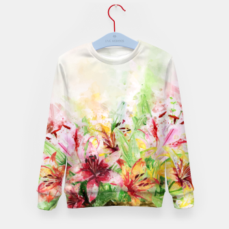Thumbnail image of Watercolor Basket Lilies Kid's sweater, Live Heroes